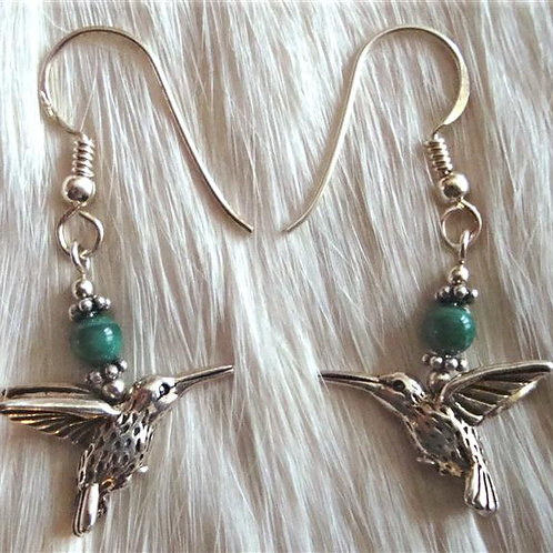 Sterling Silver & Gold Fill Humming Bird Earrings