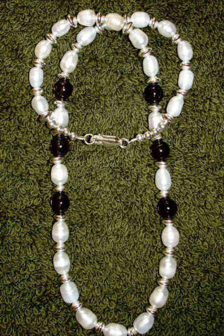 Smokey Topaz And Freshwater Pearl Necklace