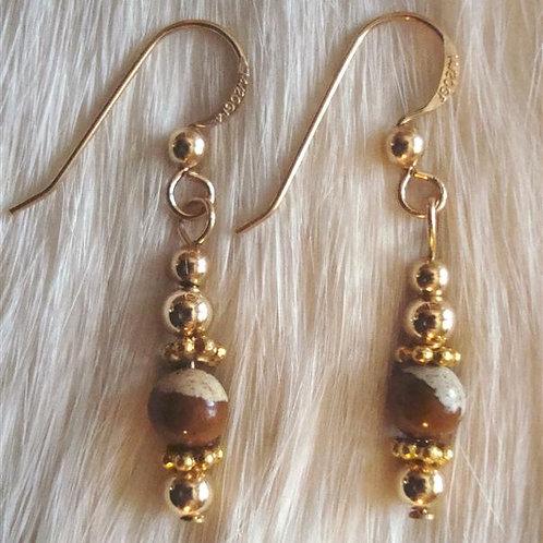 Nice Picture Jasper & Gold Fill Earrings