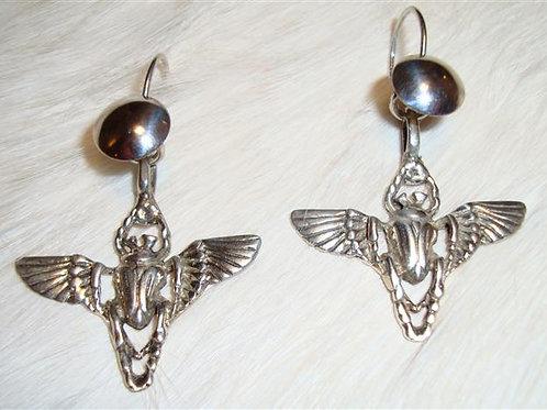 Great Sterling silver Scarab Earrings