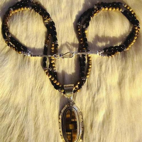 Tiger Eye, Picture Jasper, & Onyx Necklace & Pendant