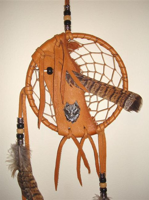 Dream Catcher With Pewter Wolf