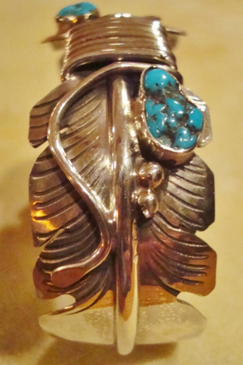 Sterling Silver & Turquoise Feather Cuff