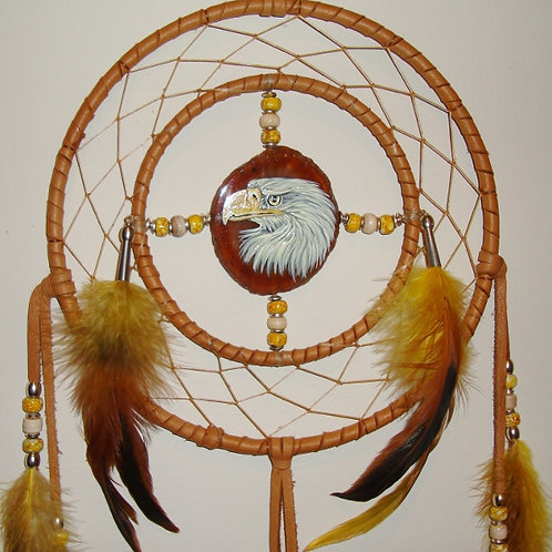 Agate Painted Eagle Medicine Wheel/Dream Catcher Combo