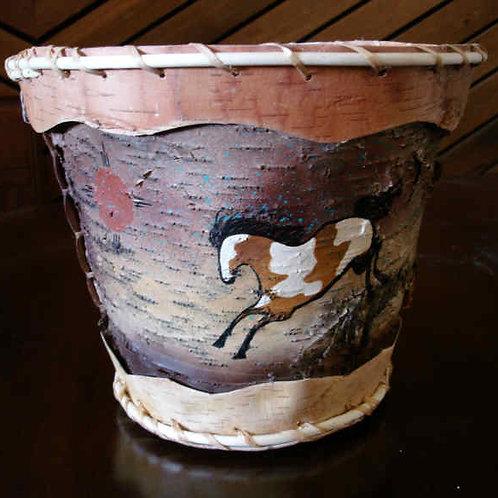 Hand Painted Birch Bark Basket