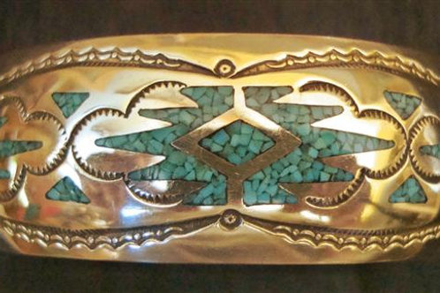 Bronze & Turquoise Chip Inlay Cuff
