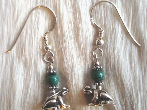 Gold Fill & Malachite Frog Earrings
