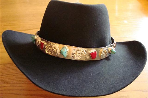 Sterling Silver, Turquoise & Coral Hatband