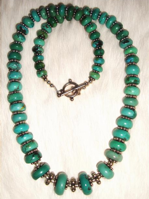 Graduated Turquoise & Sterling Silver Bali Bead Necklace