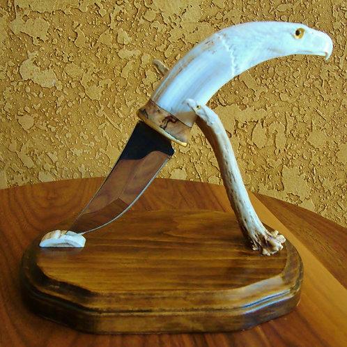 Wart Hog Tusk Carved Eagle Knife