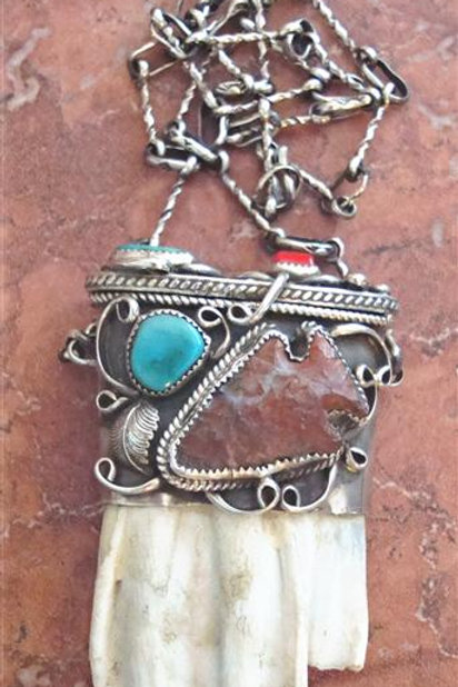 Beautiful Buffalo Tooth Pouch Necklace