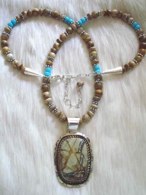 Royston Ribbon Turquoise And Picture Jasper Necklace