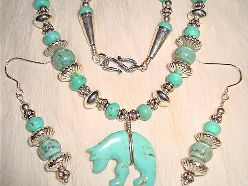 Super Nice Turquoise Bear Necklace & Earrings