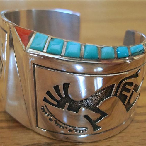Modern Style Sterling Silver, Turquoise & Red Coral Cu