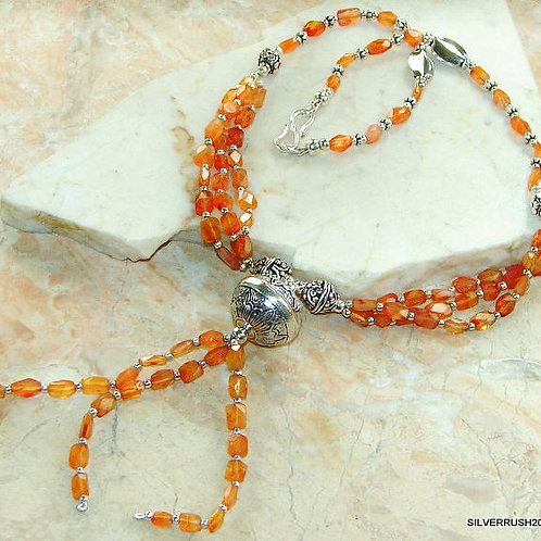 Tassel Carnelian & Sterling Silver Necklace