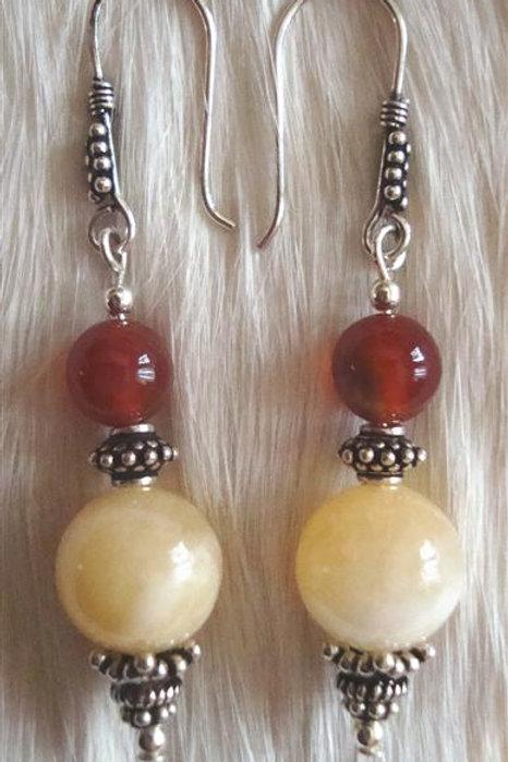 Carnelian & Calcite Bali Sterling Earrings