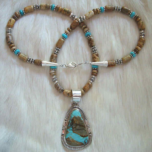 Boulder Royston Turquoise And Picture Jasper Necklace