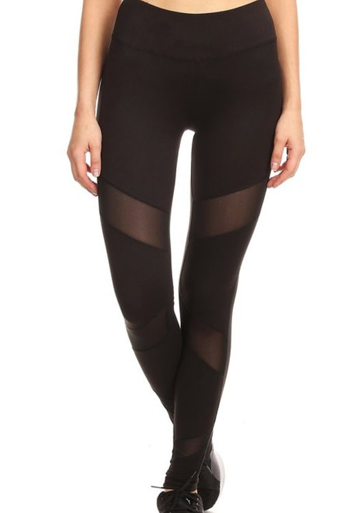 BLACK HIGH WAISTED LEGGINGS WITH MESH PANELS