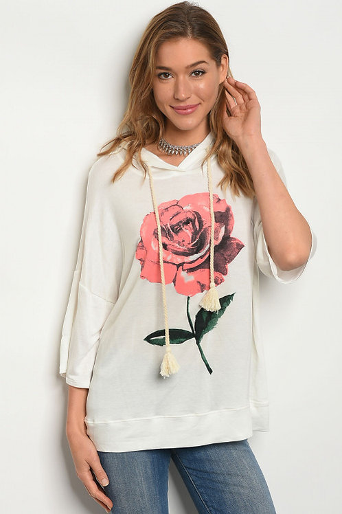 IVORY WITH ROSE PRINT TOP