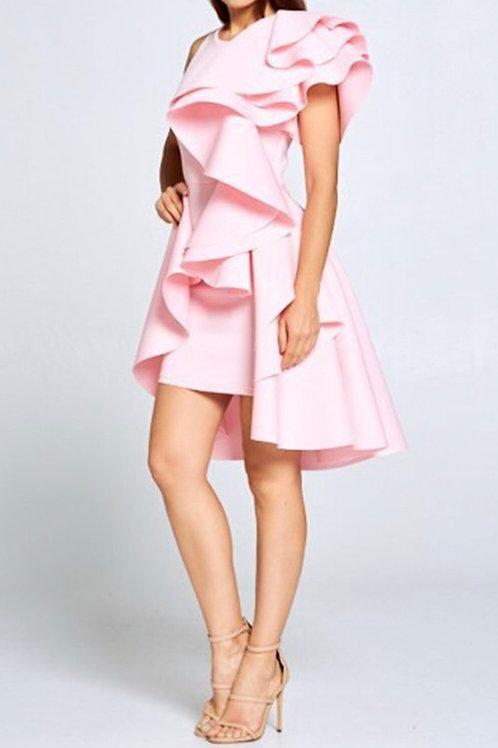 Scuba Ruffled Down Dress