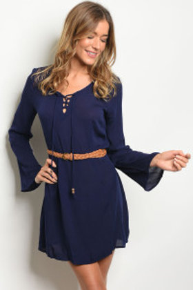 NAVY BELTED AND LACED DRESS