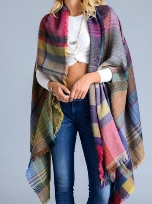 PLAID COLORFUL PONCHO