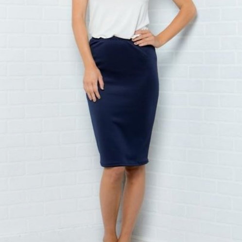 NAVY SOLID PENCIL SKIRT
