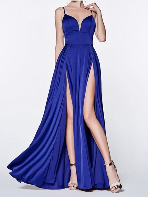 Blue Deep V Gown