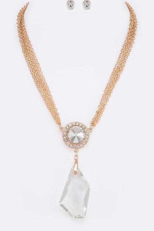 Crystal Drop Pendant Necklace Set