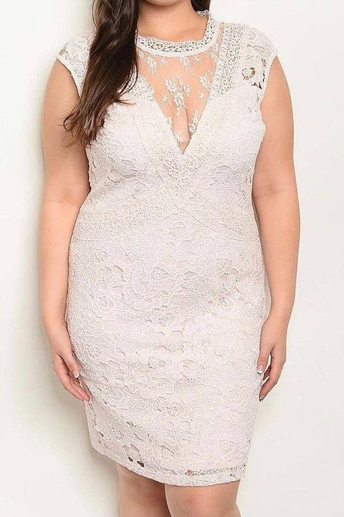 Plus V-neck Crochet Dress