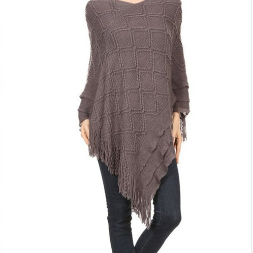 DARK GRAY KNIT PONCHO