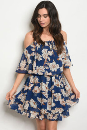NAVY FLORAL OFF SHOULDER DRESS