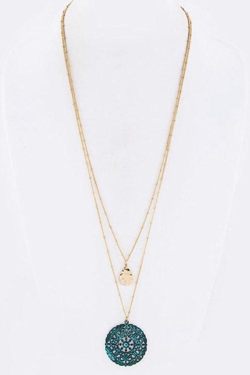 Filigree Medallion Layer Necklace