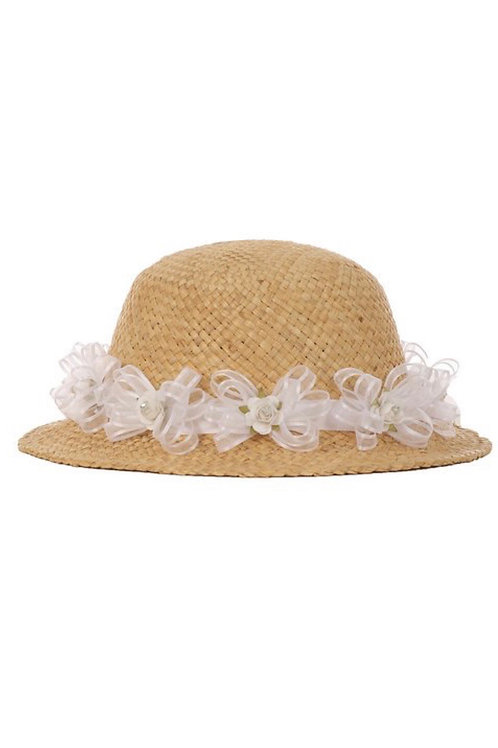 Floral Straw Brimmed Hat