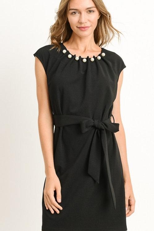BLACK FRONT TIE DRESS