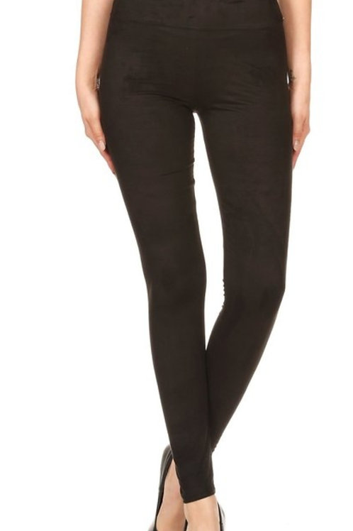 BLACK FAUX SUEDE LEGGINGS