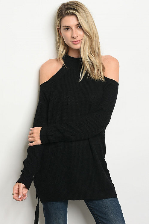 BLACK SWEATER WITH SIDE TIE