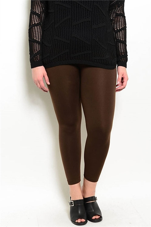 BROWN PLUS SIZE FLEECE LEGGINGS