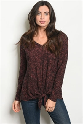 LONG SLEEVE KNOTTED FRONT SLUB KNIT TOP