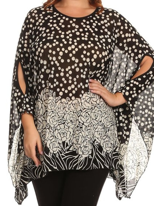 PLUS SIZE POLKA DOT AND ROSE KIMONO