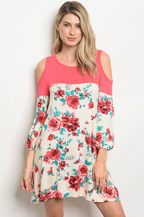 CREAM CORAL FLORAL DRESS