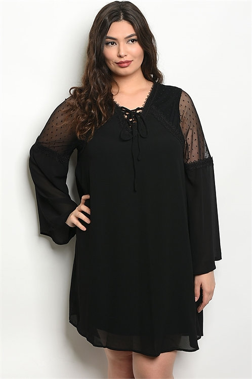 PLUS SIZE BLACK SHEER SHOULDER DRESS