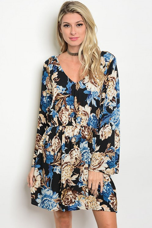 BLACK + BLUE FLORAL DRESS