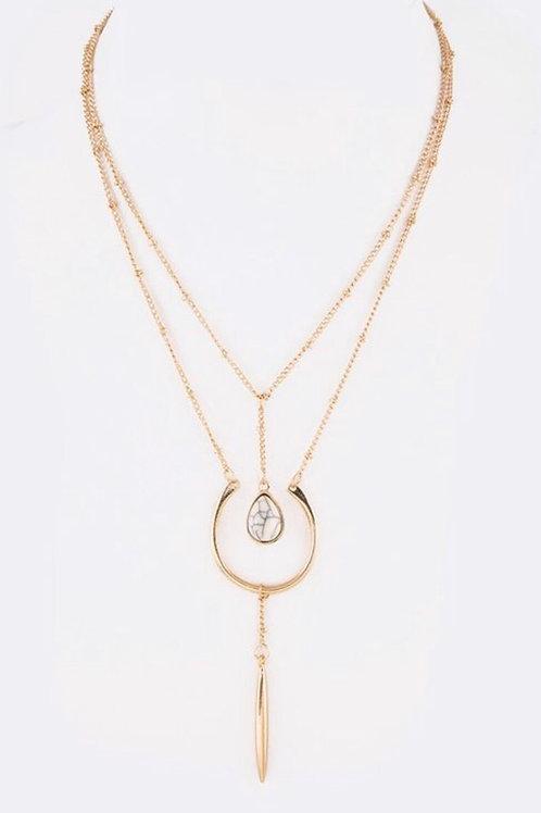 Howlite Stone Drop Necklace