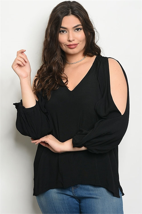 BLACK PLUS SIZE TOP SLIT SLEEVE