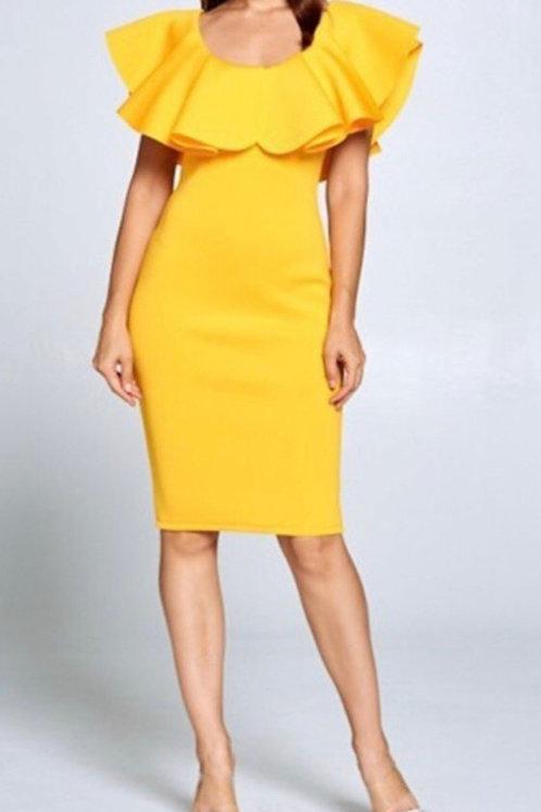 Scuba Ruffled Dress