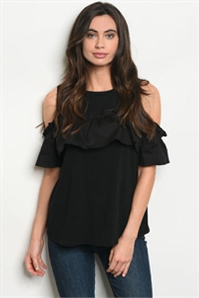 BLACK TOP SHORT SLEEVE COLD SHOULDER