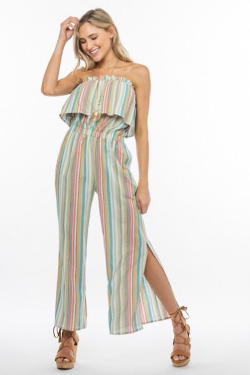 Multi-Colored Striped Jumpsuit