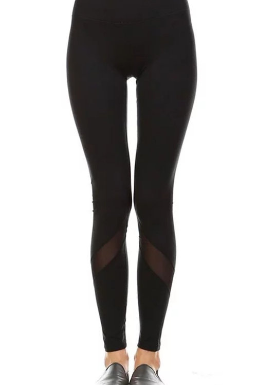 BLACK ATHLETIC MESH LEGGINGS