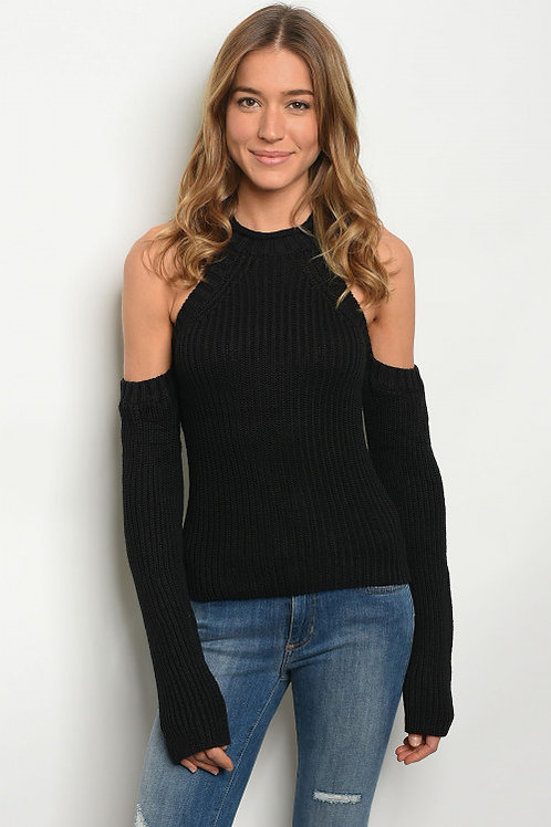 BLACK SWEATER OFF THE SHOULDERS